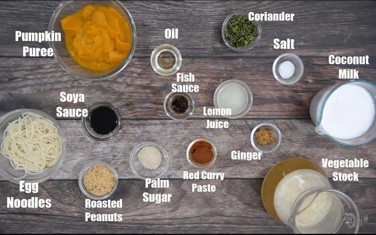 Thai Pumpkin Noodle Soup Ingredients.
