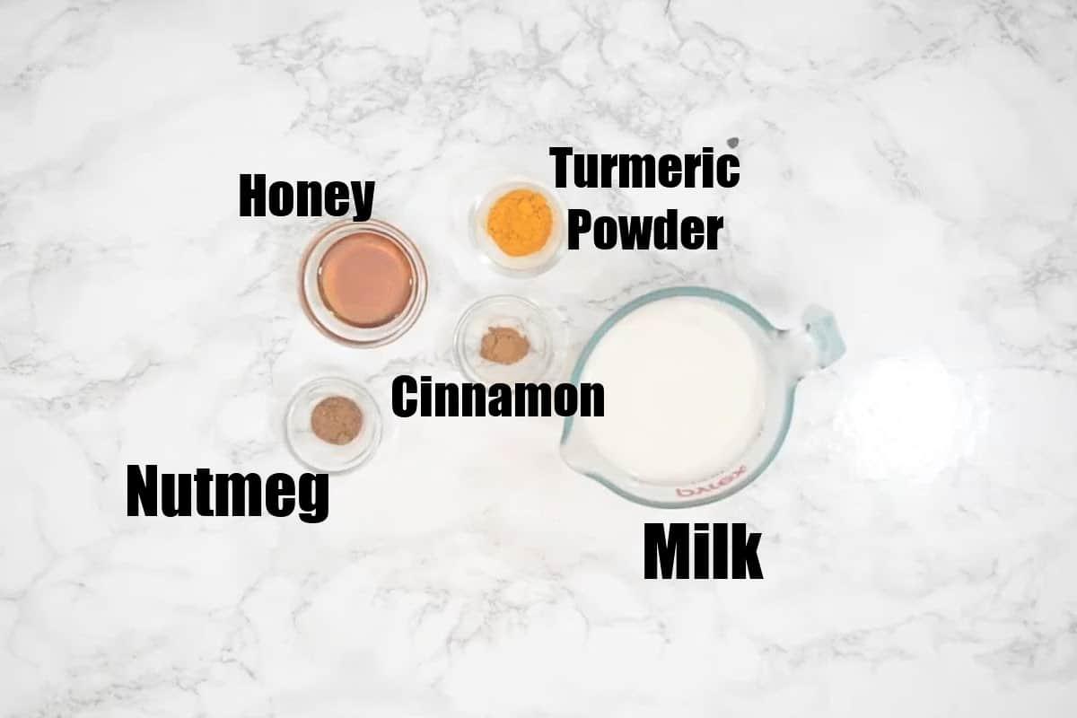 Turmeric Latte Ingredients.