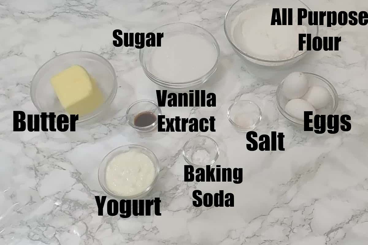 Vanilla pound cake ingredients.