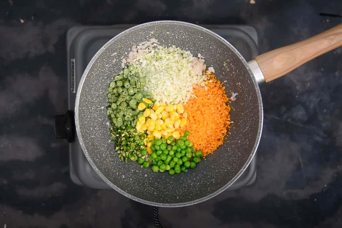 Veggies added to the pan.