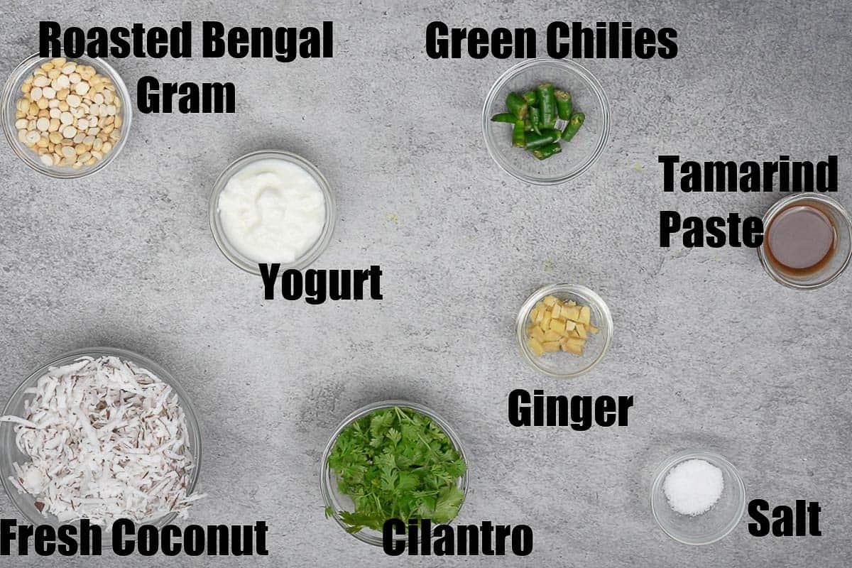 Cilantro coconut chutney ingredients.