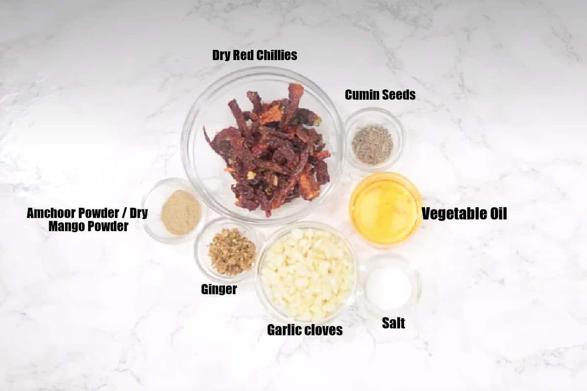 Garlic Chutney Ingredients.