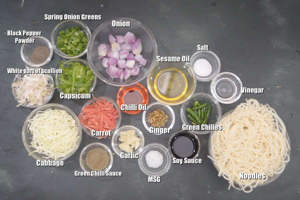 Hakka Noodles Ingredients.