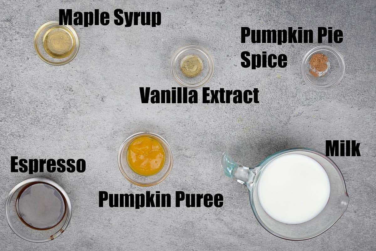 Iced Pumpkin Spice Latte Ingredients.