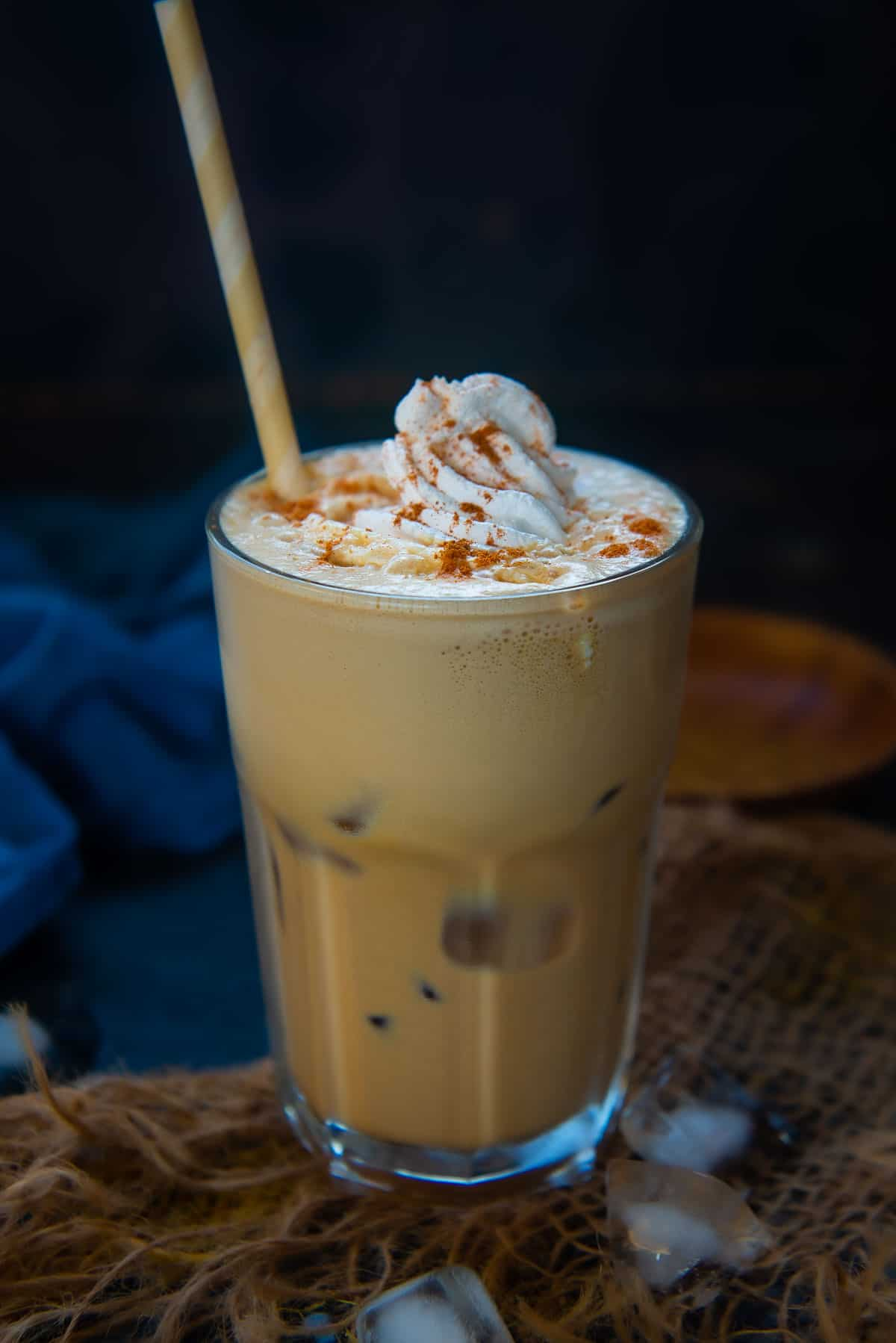 Iced Pumpkin Spice Latte served in a glass.