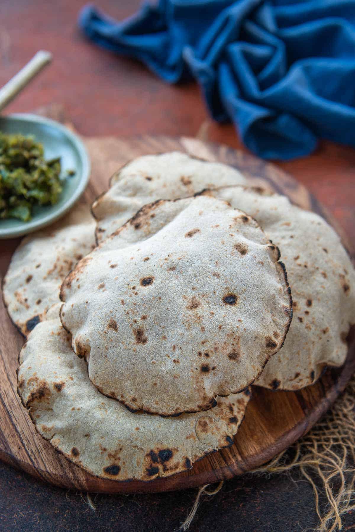 Jowar Bhakri served on a plate.