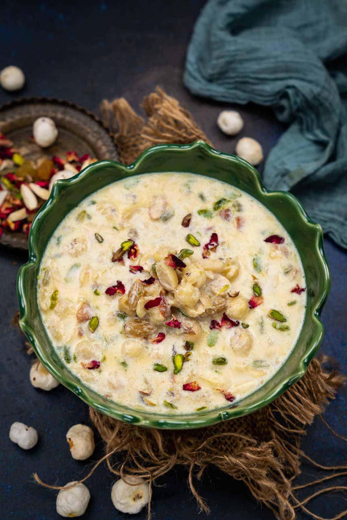 Makhana kheer served in a bowl.