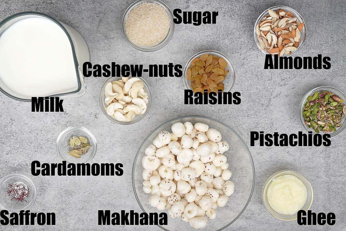 Makhana Kheer ingredients.