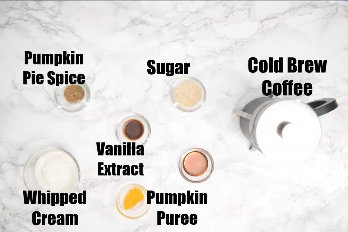 Pumpkin Spice Cold Brew Ingredients.