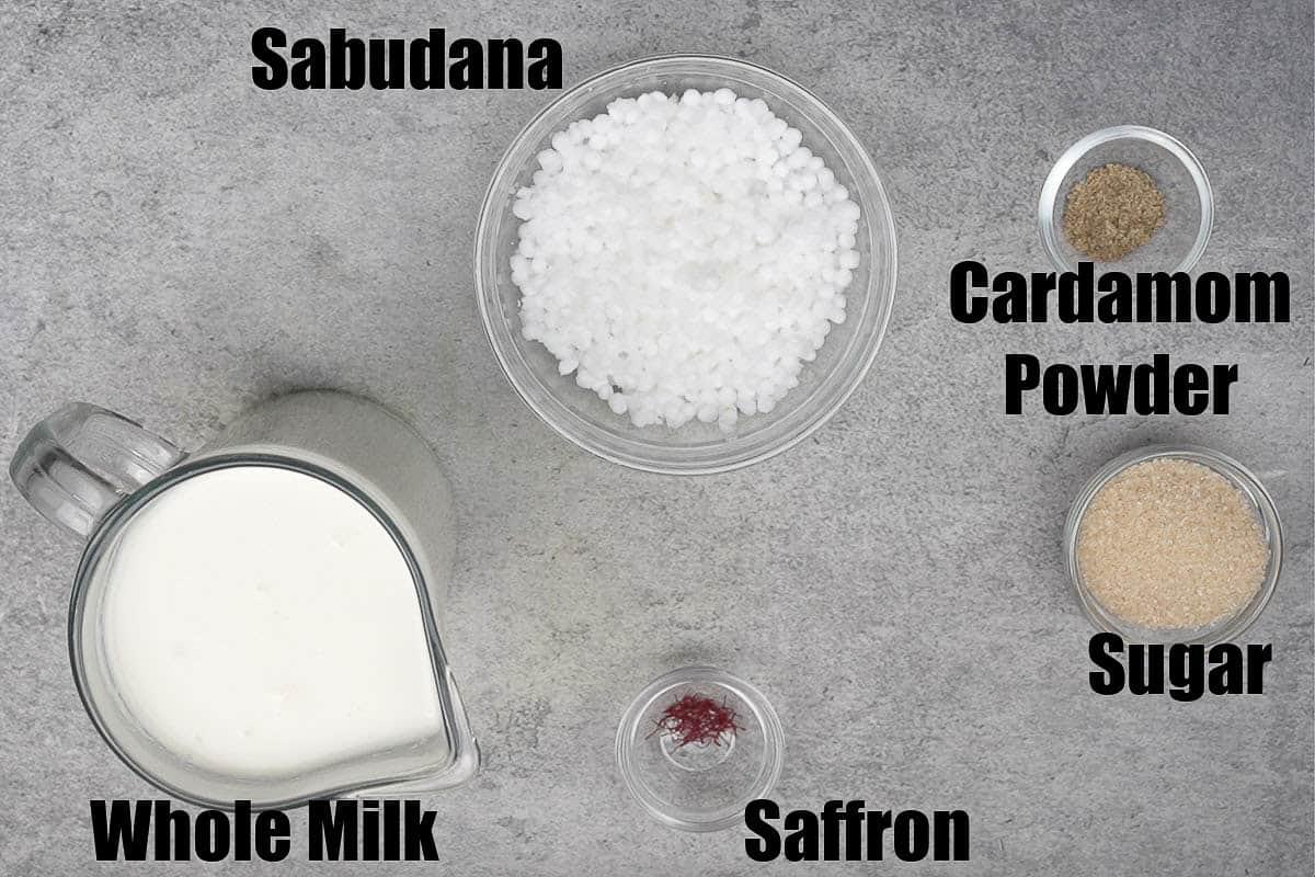 Sabudana kheer ingredients.