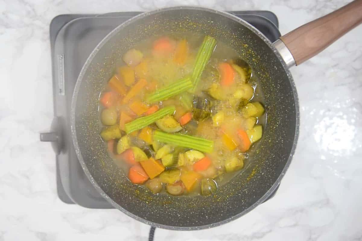 Cooked vegetables.