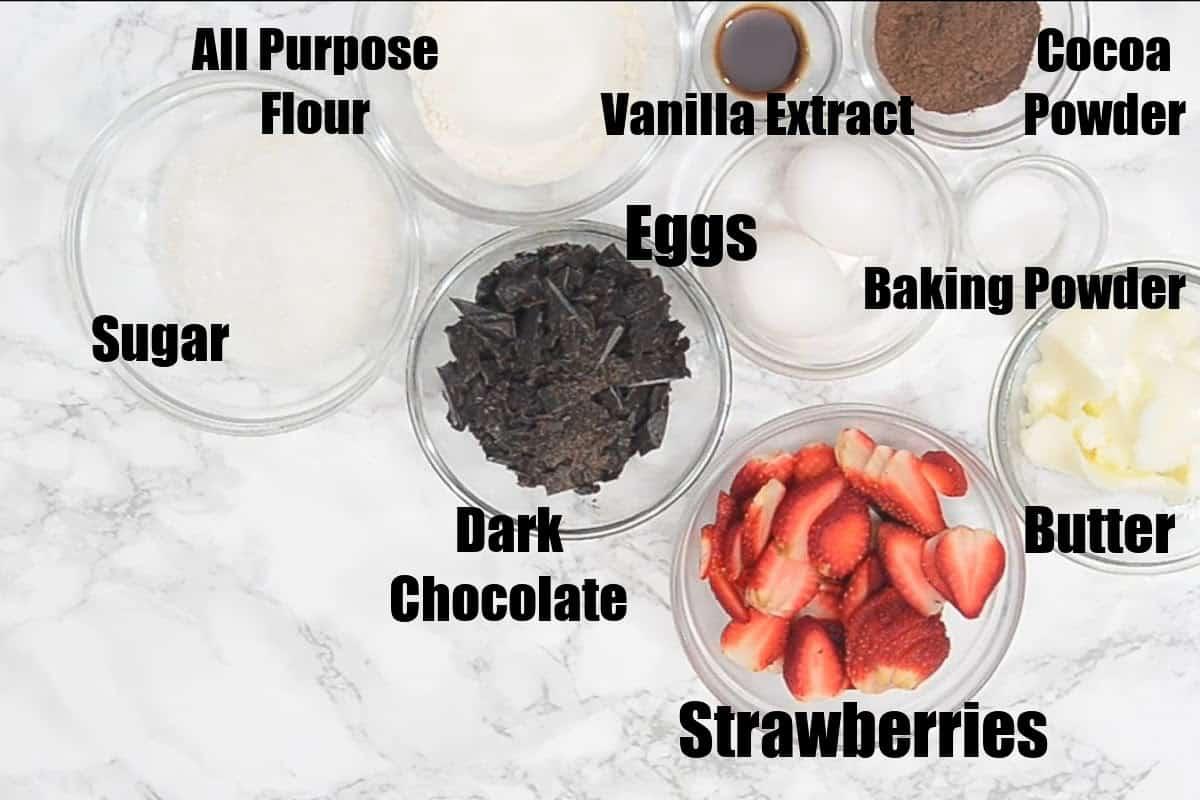 Strawberry Brownies Ingredients.