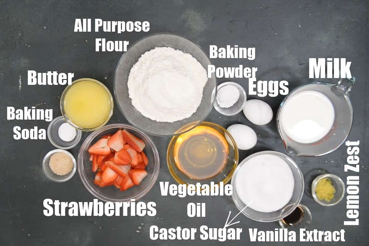 Strawberry Cake Ingredients.