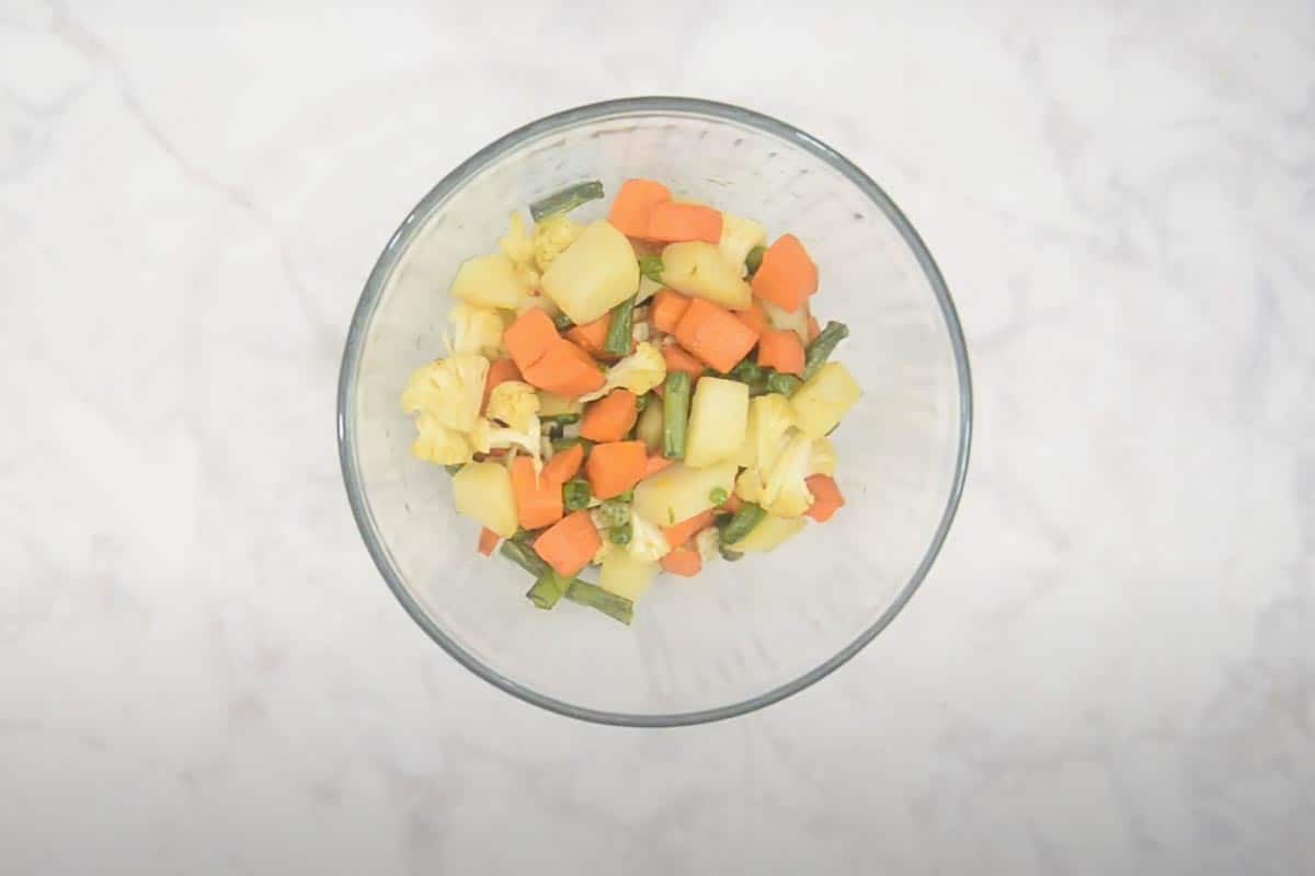 Fried vegetables removed in a  bowl.