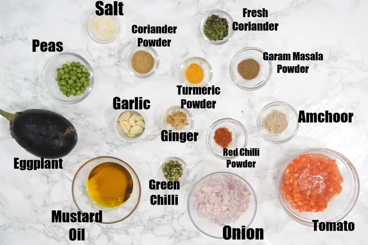 Baingan Bharta Ingredients.