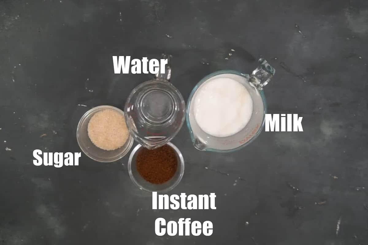 Dalgona Coffee Ingredients.