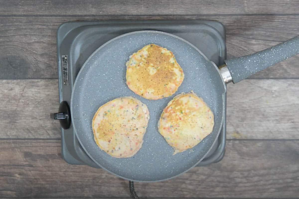 Ready funfetti pancakes.