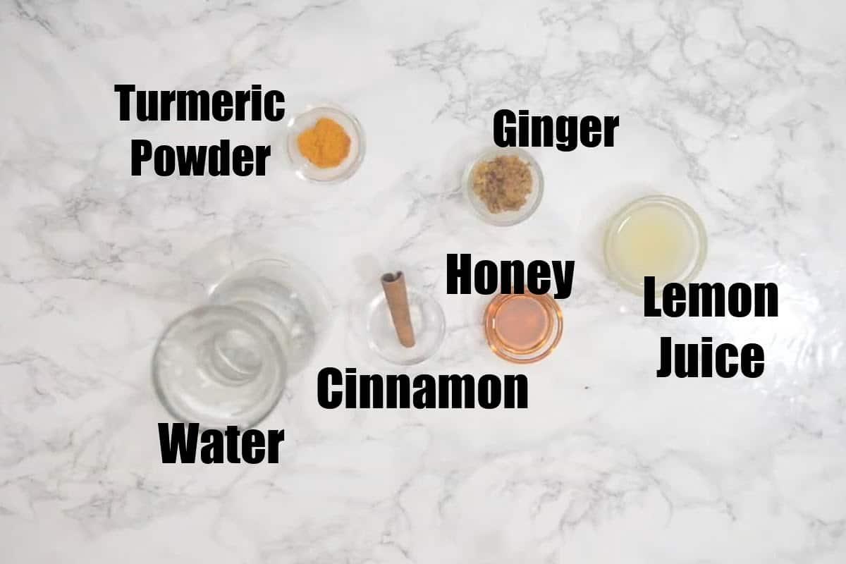 Ginger Turmeric Tea Ingredients.