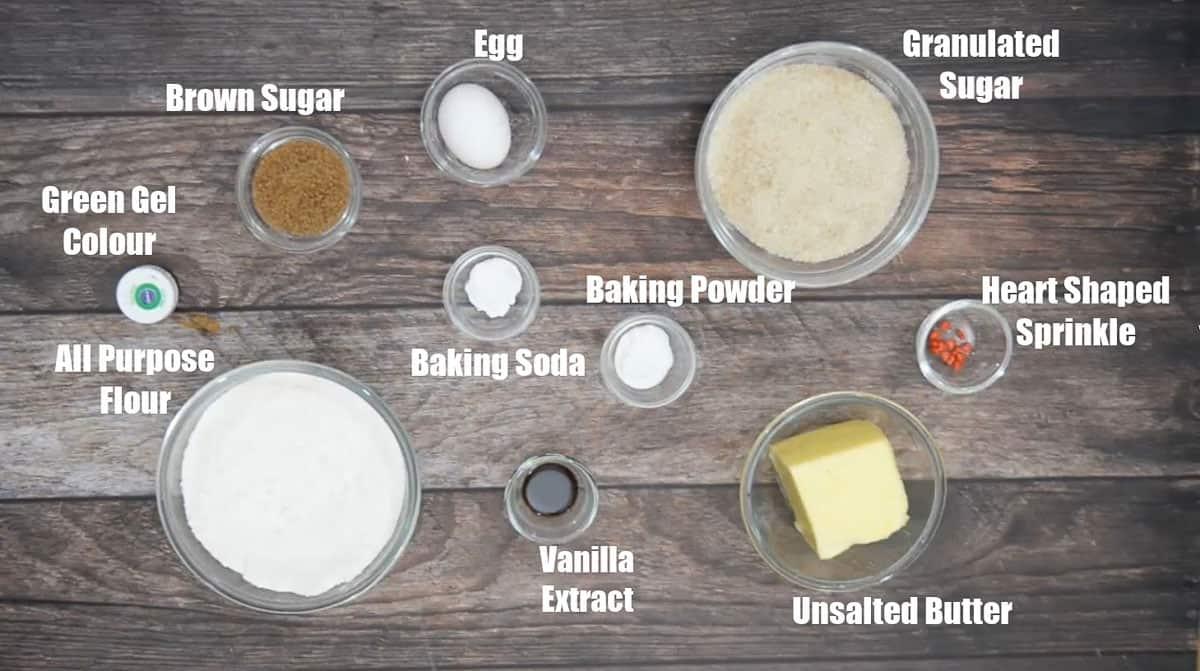 Grinch Cookies Ingredients.