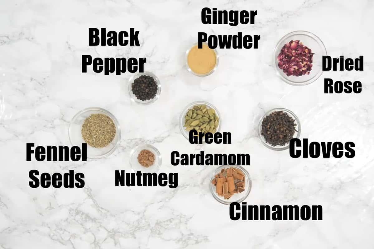 Masala Tea Powder Ingredients.