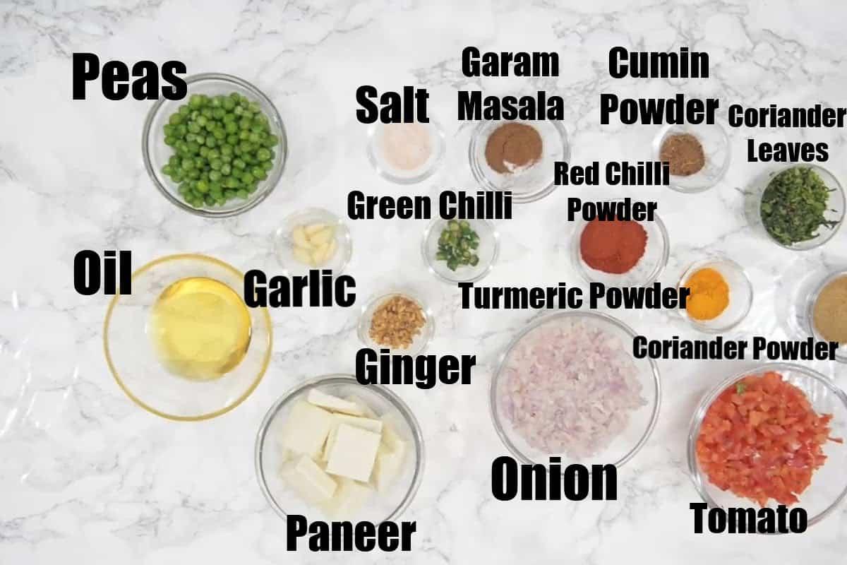 Matar Paneer Ingredients.