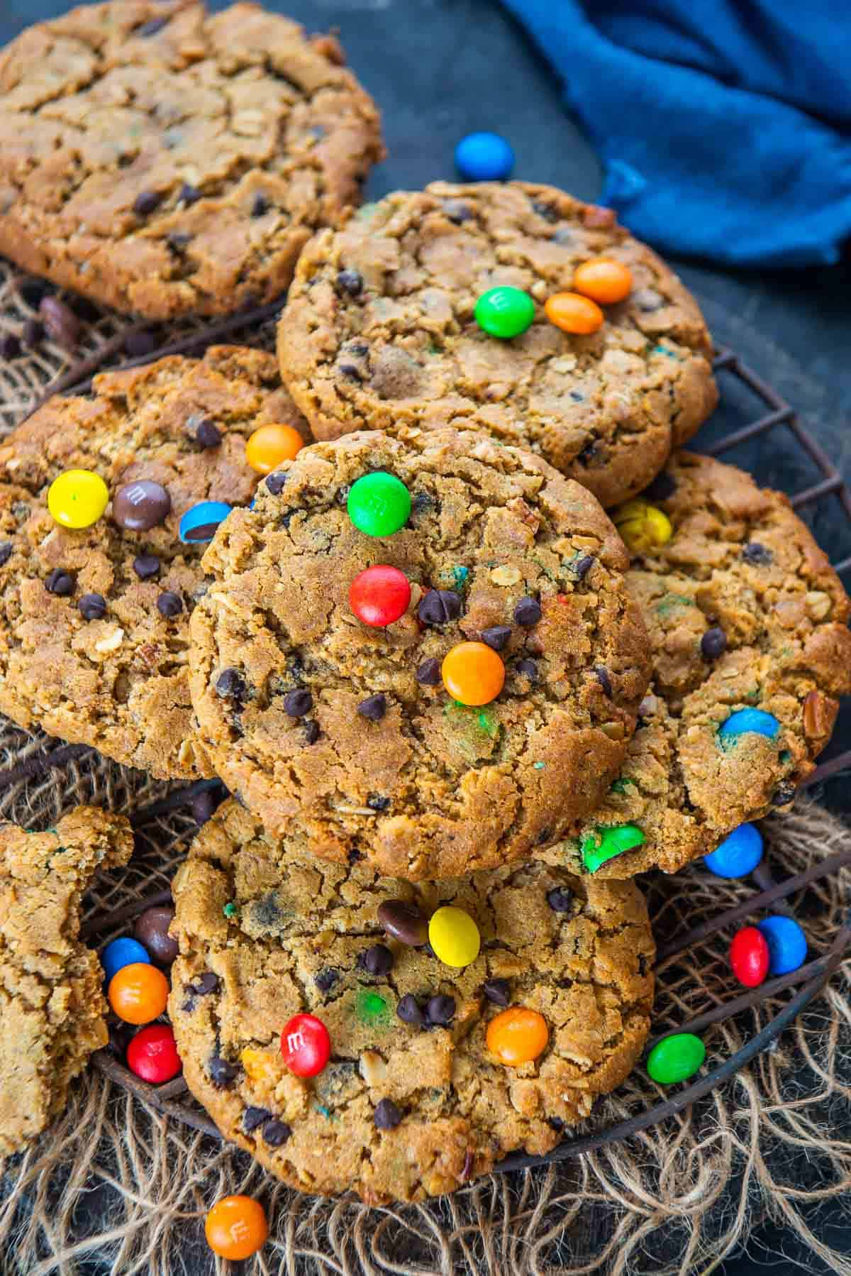 Monster Cookies served on a plate.