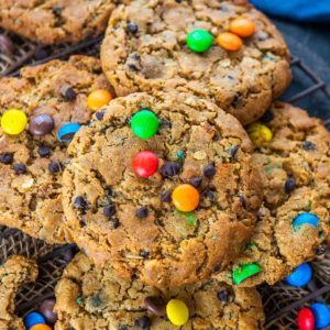 Want some soft and thick cookies for your evening Tea Time, then you must make these Monster Cookies at home. These cookies are filled with Peanut Butter, Chocolate Chips, and M & M's and come together in under 30 minutes.