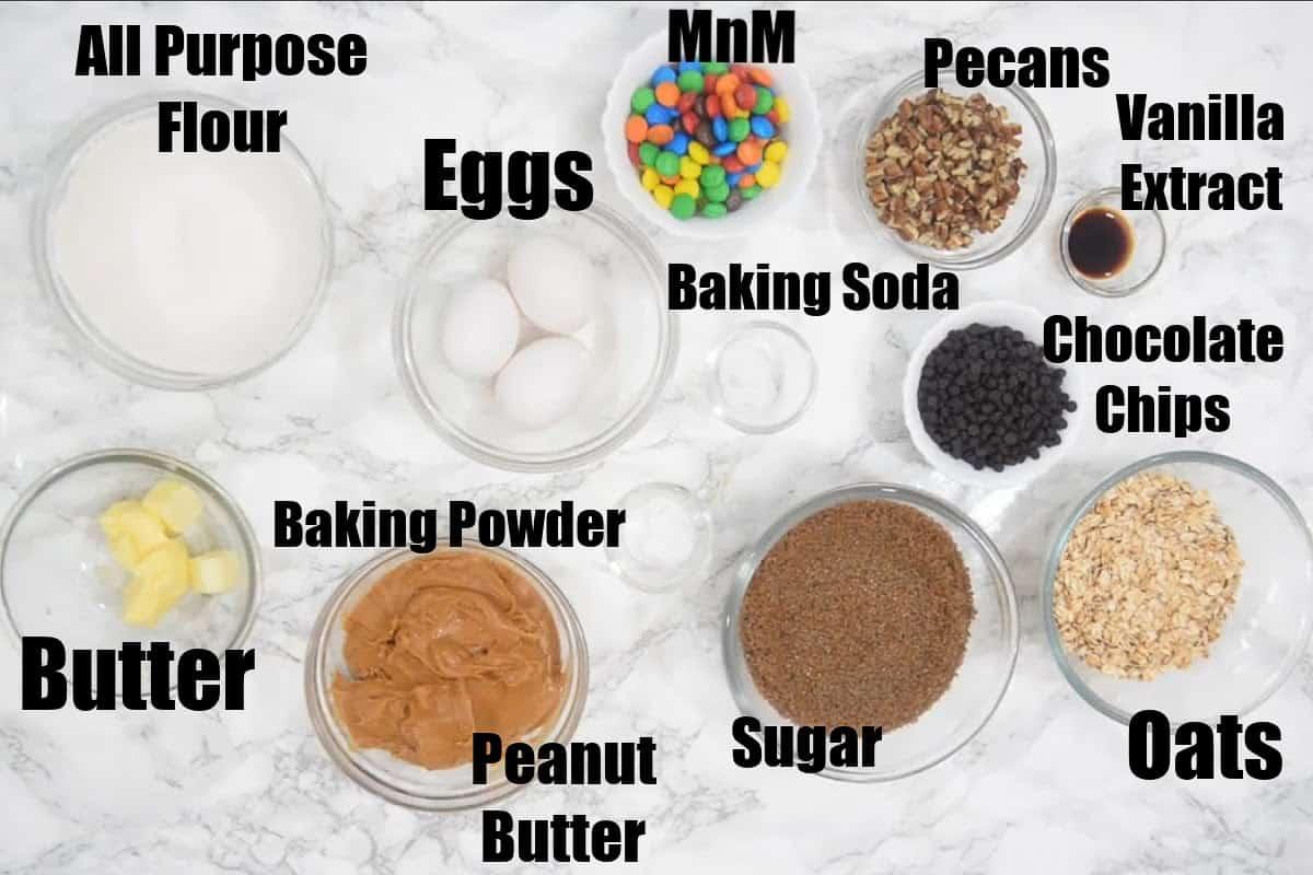 Monster Cookies Ingredients.