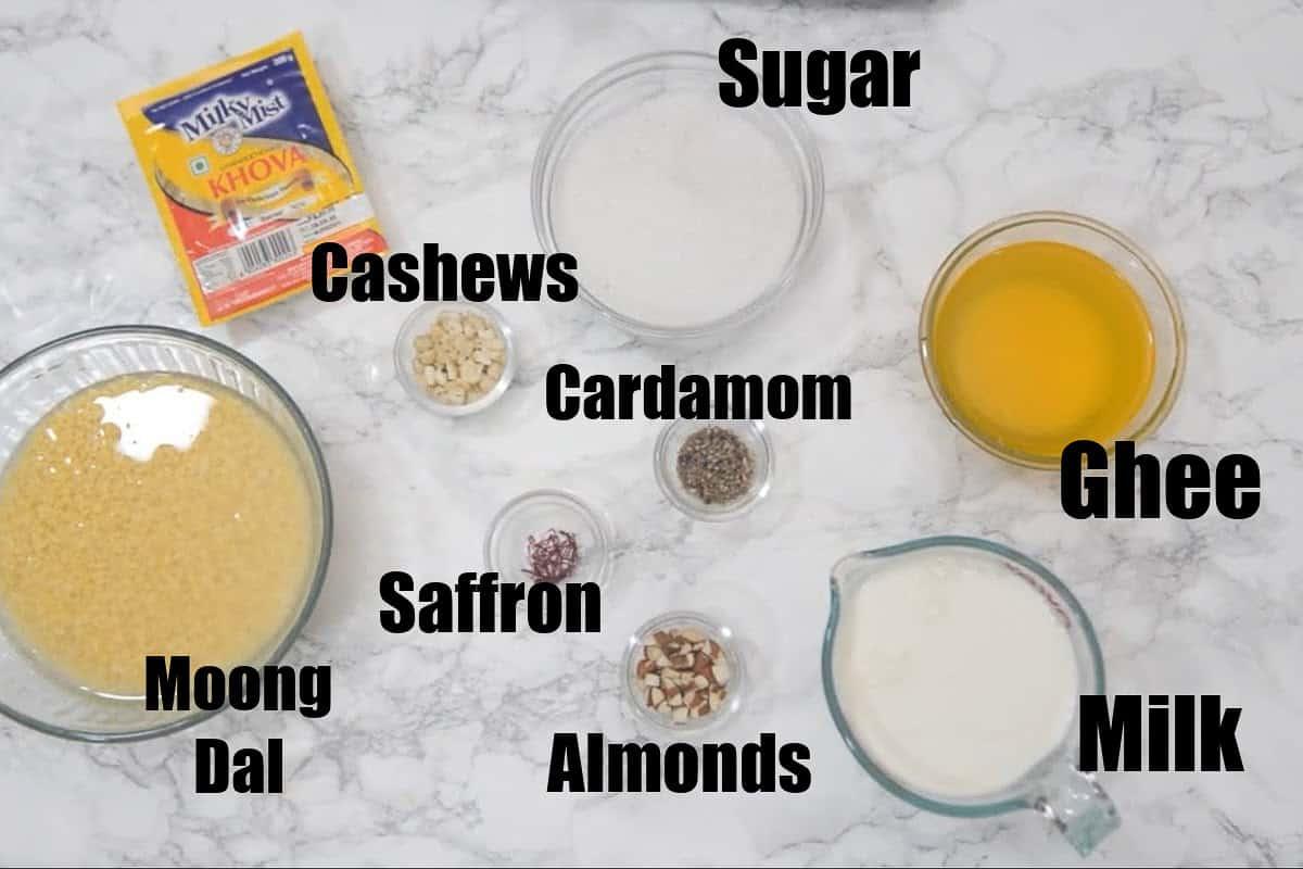 Moong Dal Halwa Ingredients.