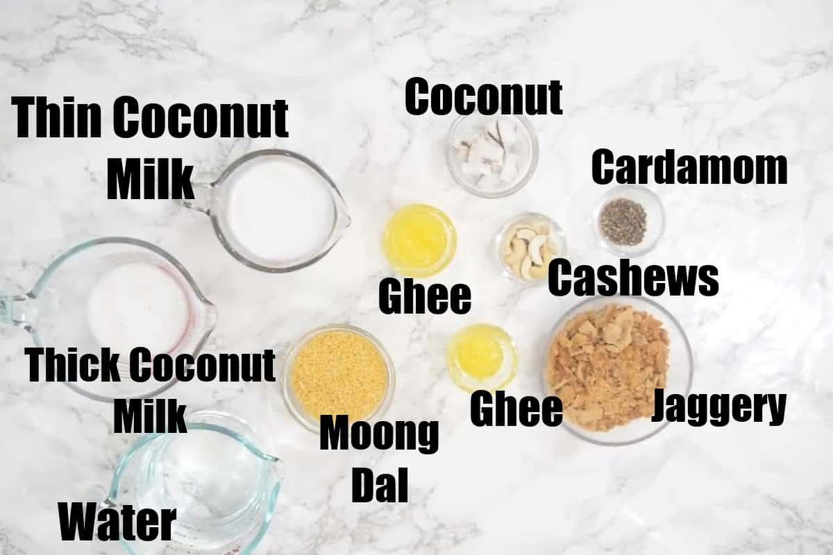 Moong Dal Payasam Ingredients.