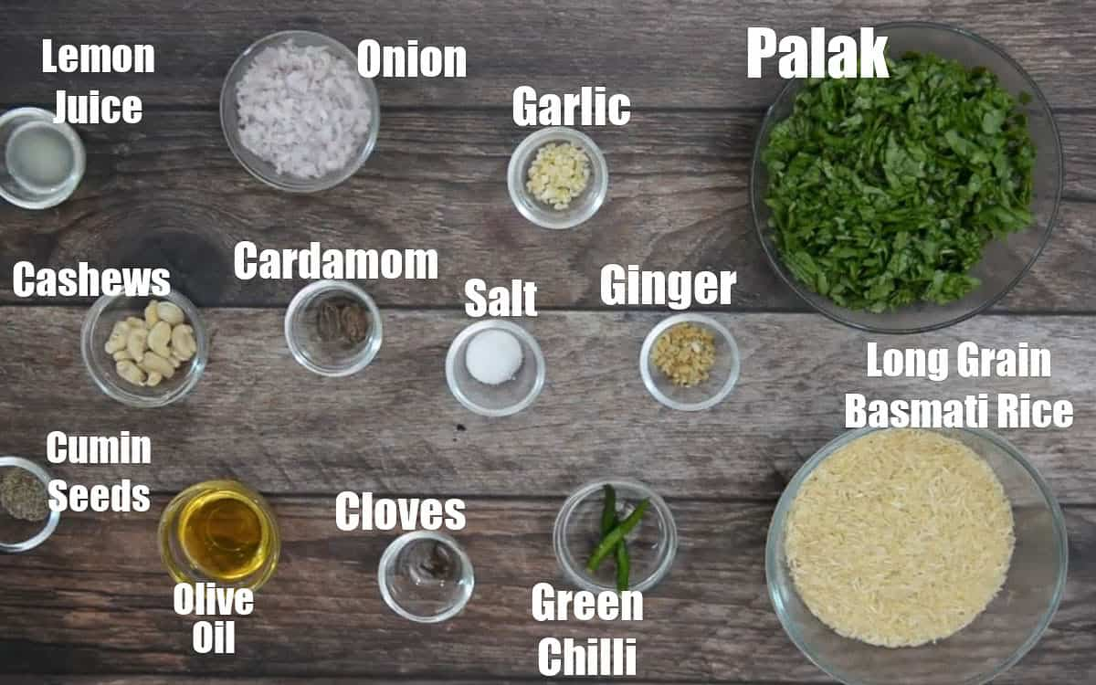 Palak Rice Ingredients.