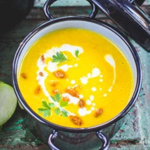 Super creamy and velvety, Pumpkin Apple Soup is a great balance of savory, tart, and spicy flavors. It is Healthy, Gluten-Free, Dairy-Free, Vegan and comes together in under 30 minutes.
