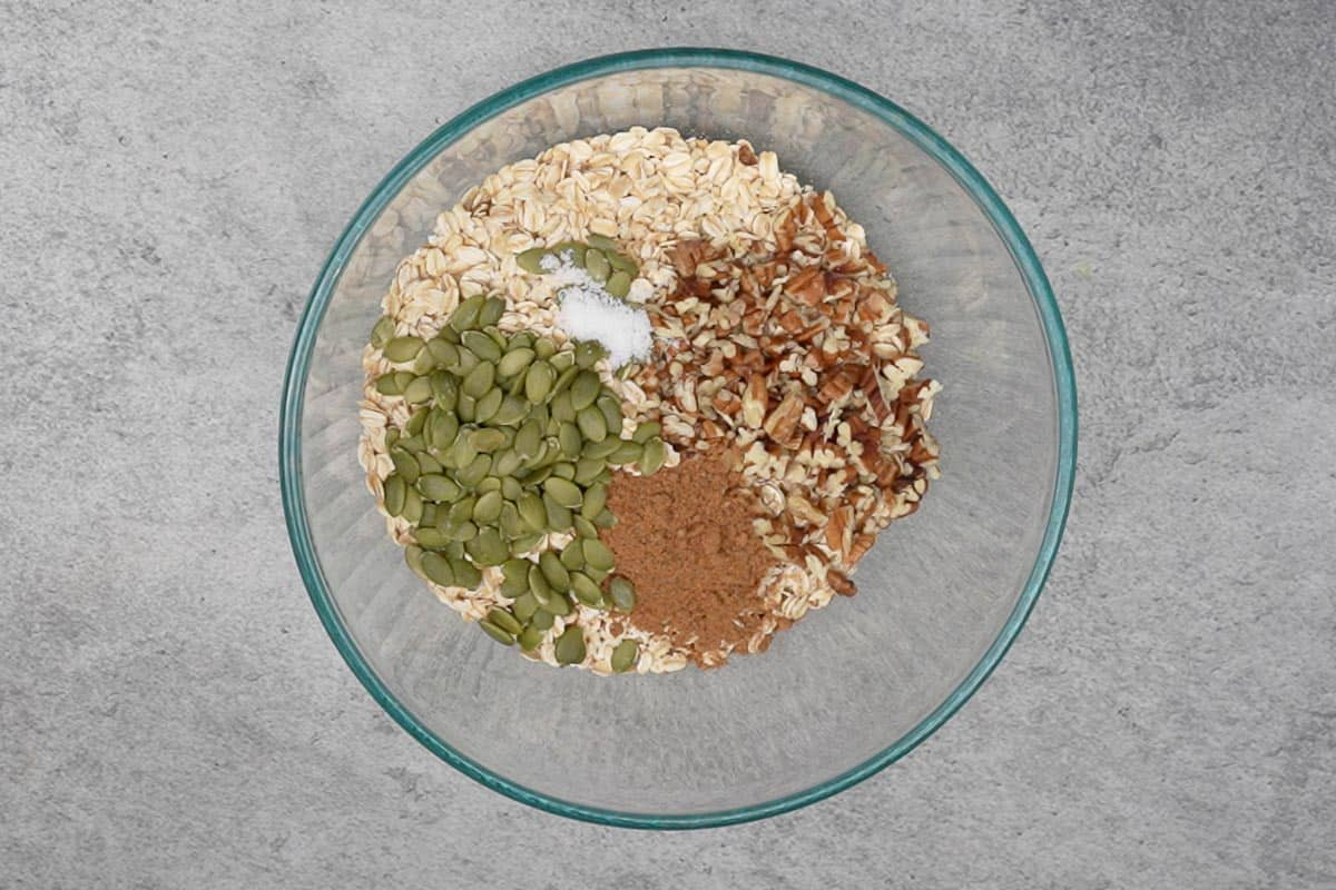 Dry ingredients mixed in a bowl.