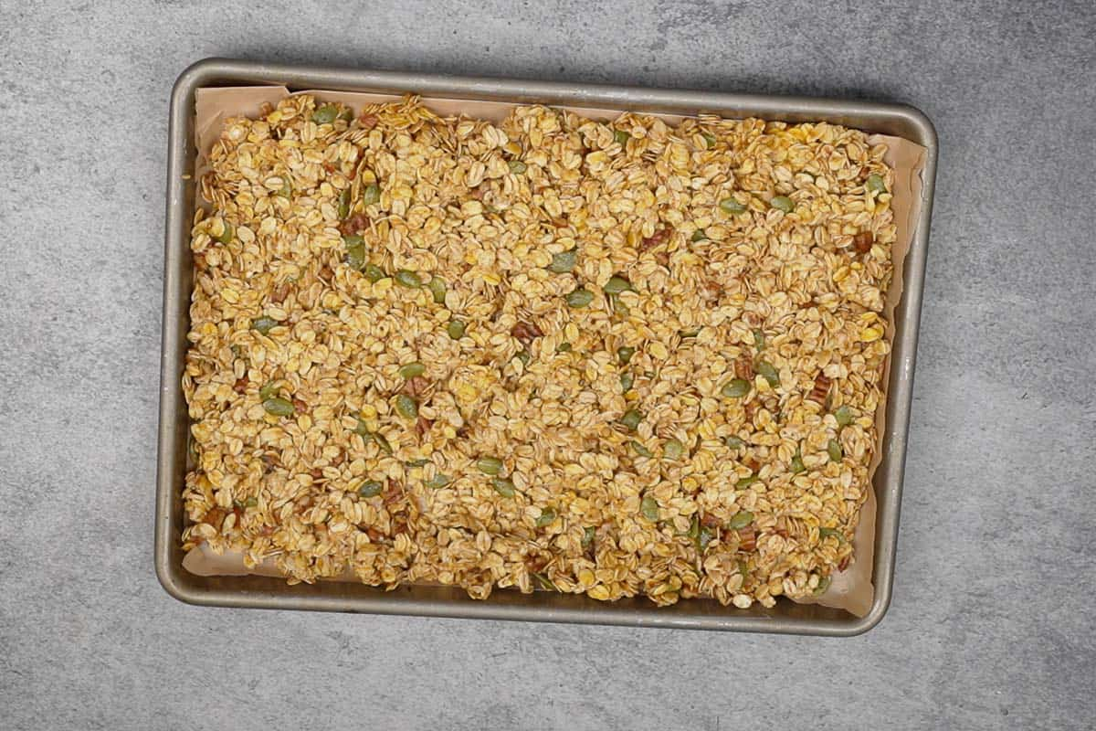 Mixture spread on the baking tray.