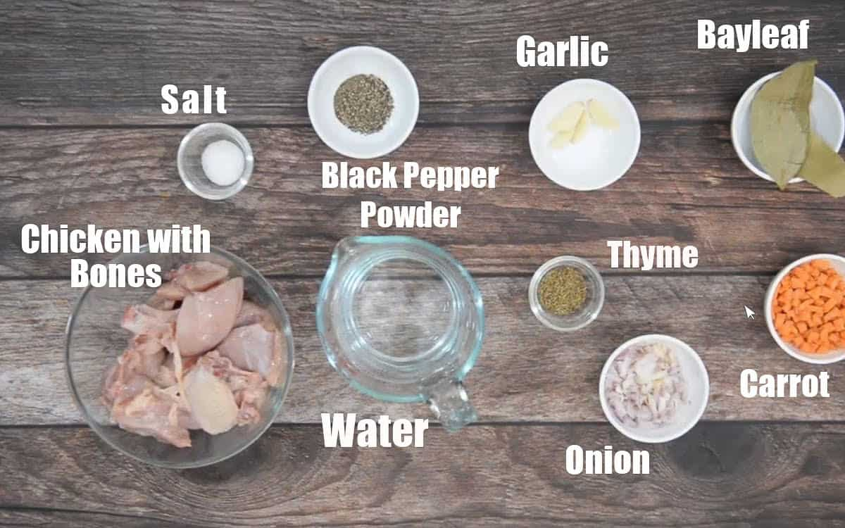Clear Chicken Soup Ingredients.