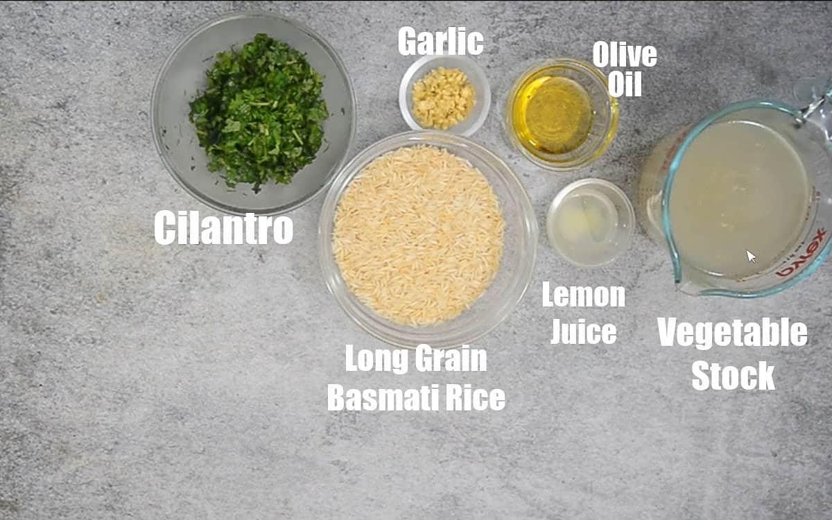 Cilantro Lime Rice Ingredients.