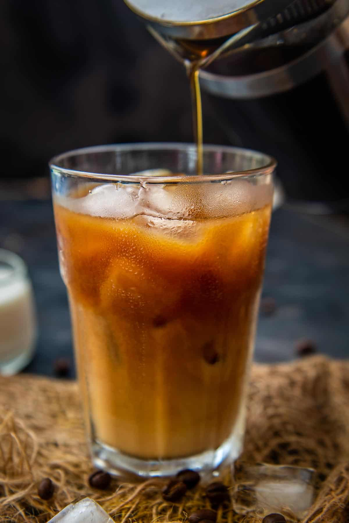 French Press Cold Brew served in a glass.