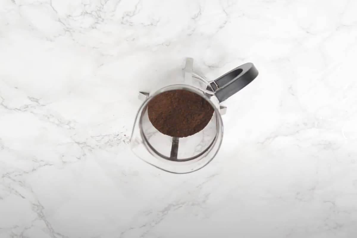 Coffee added to the French Press.