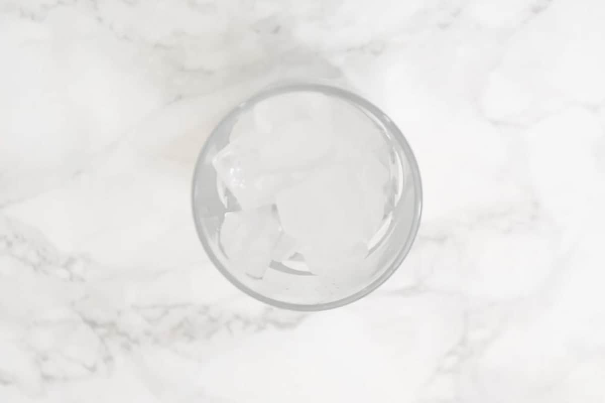 Glass filled with ice.