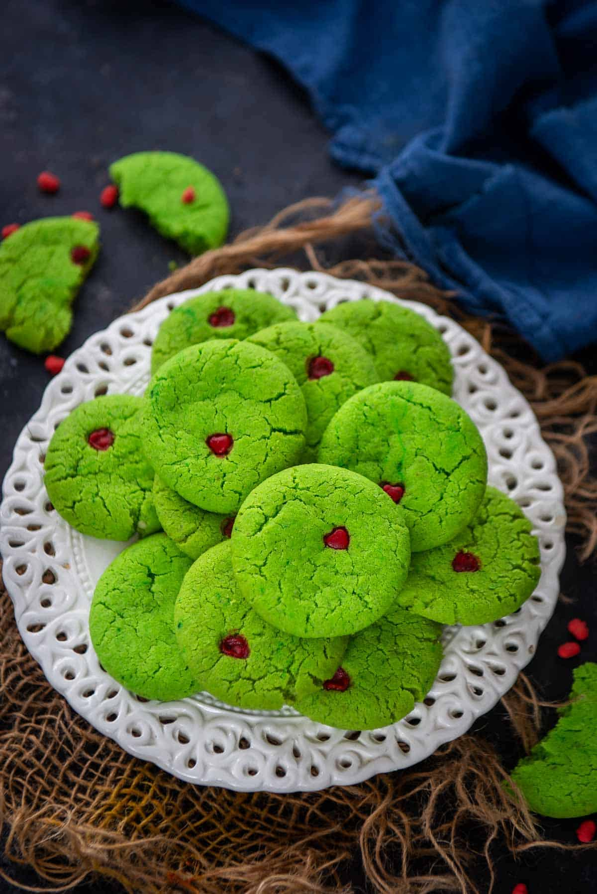 Grinch Cookies served on a plate.
