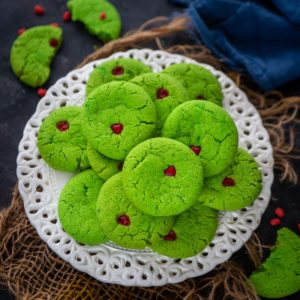 Inspired by Dr. Suess's How The Grinch Stole The Christmas, these Grinch Cookies are soft chewy cookies perfect for the holidays and festive season. Made using basic ingredients, these get done in under 20 minutes.