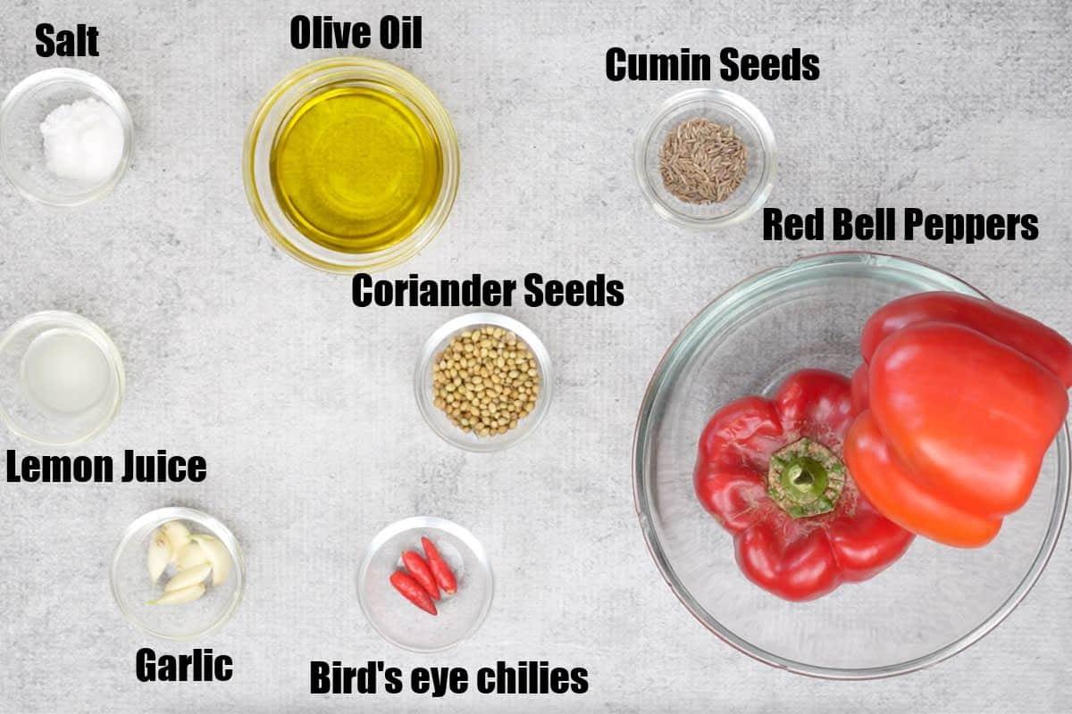 Harissa Sauce Ingredients.