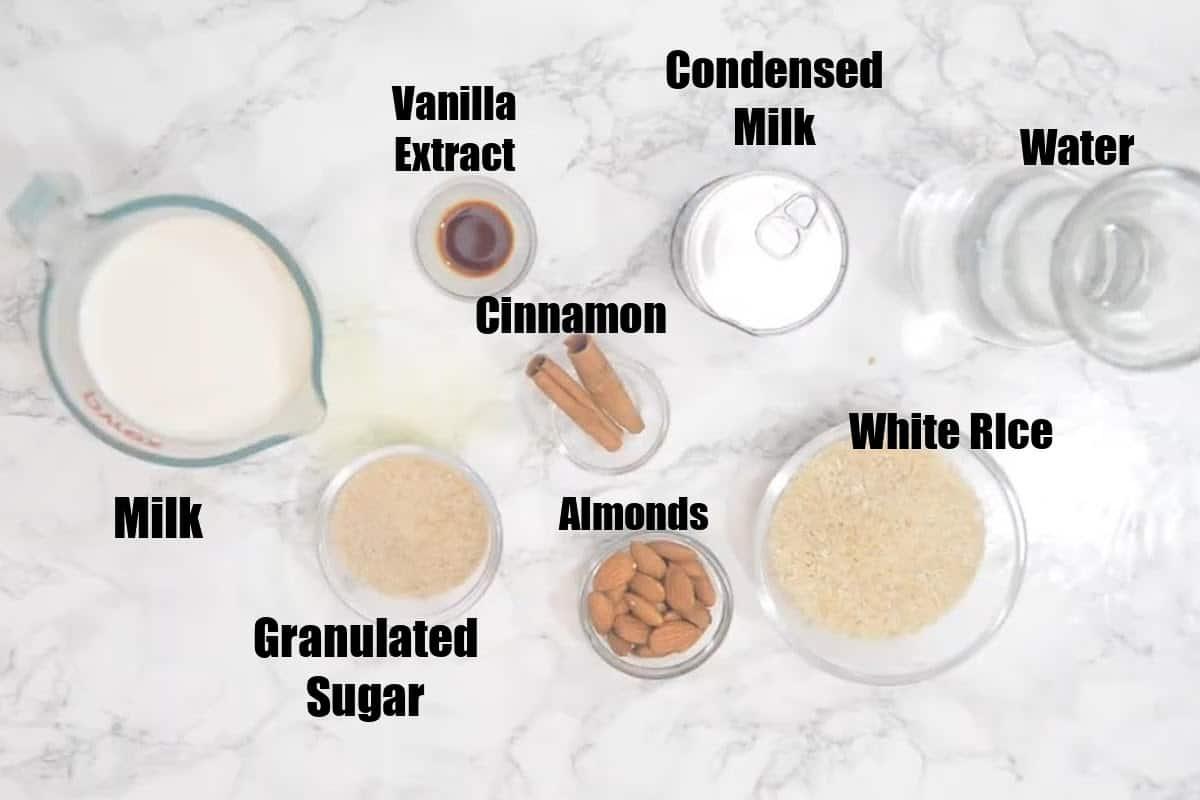 Horchata Ingredients.
