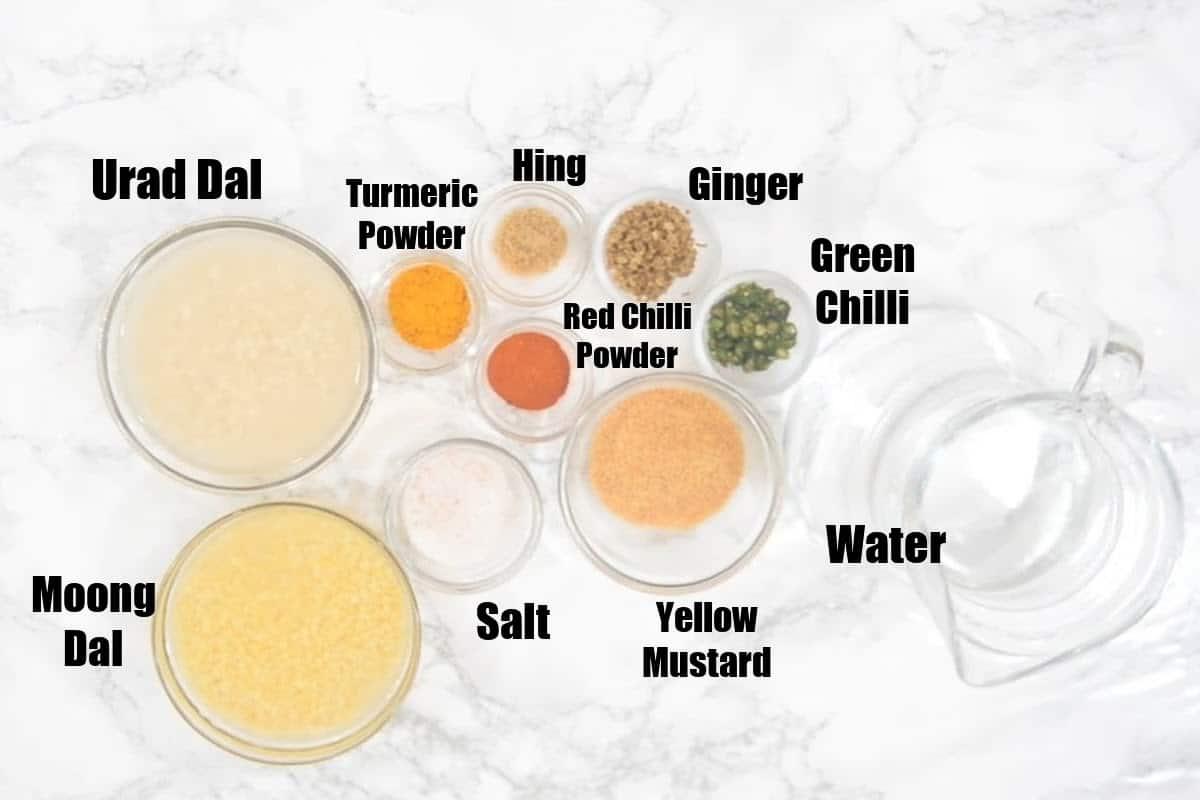 Kanji Vada Ingredients.