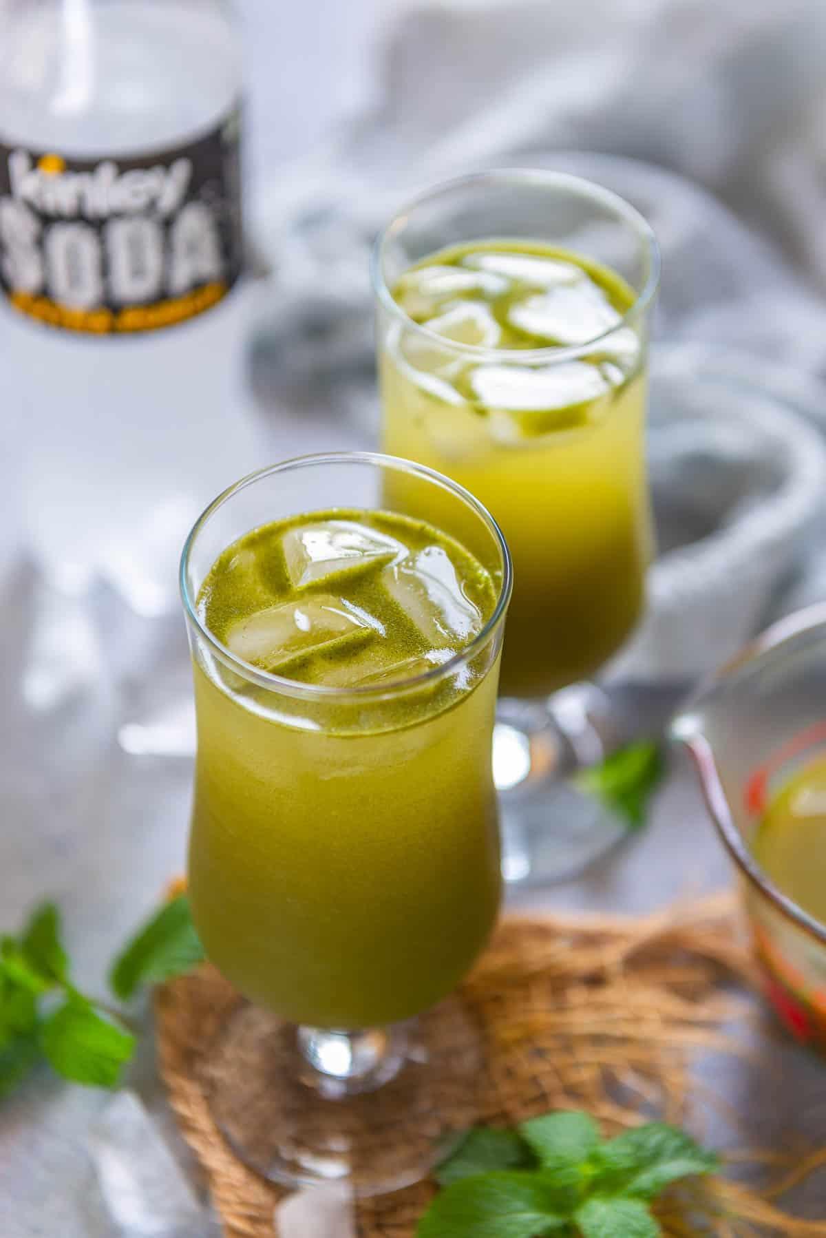 Masala soda served in a glass.
