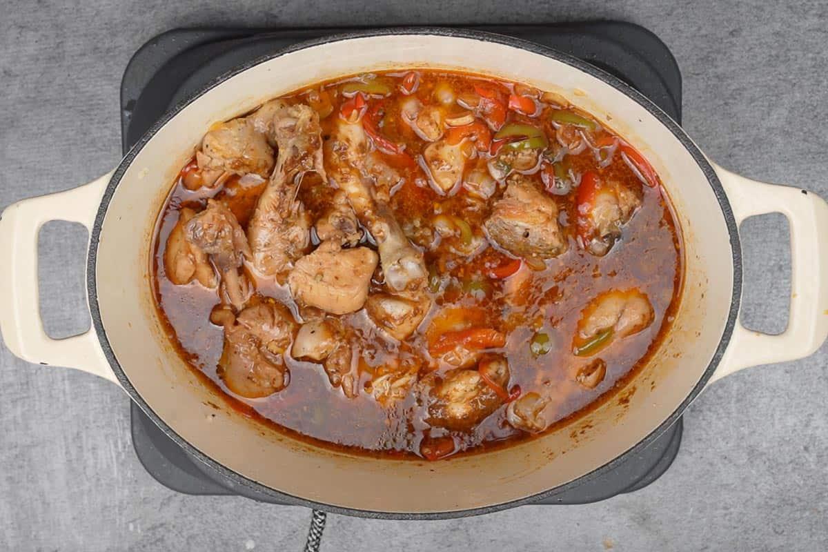 Ready brown stew chicken.