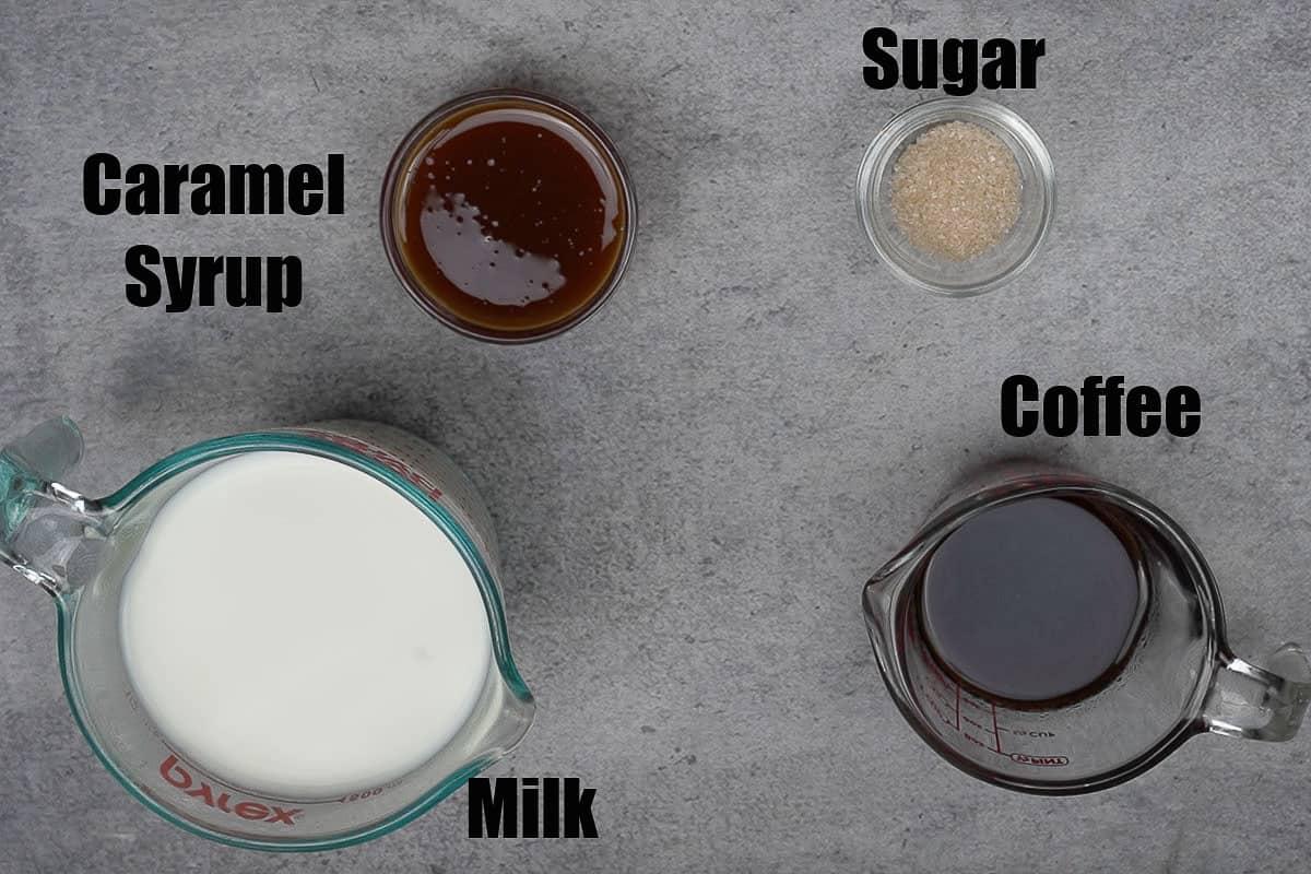 Caramel latte ingredients.