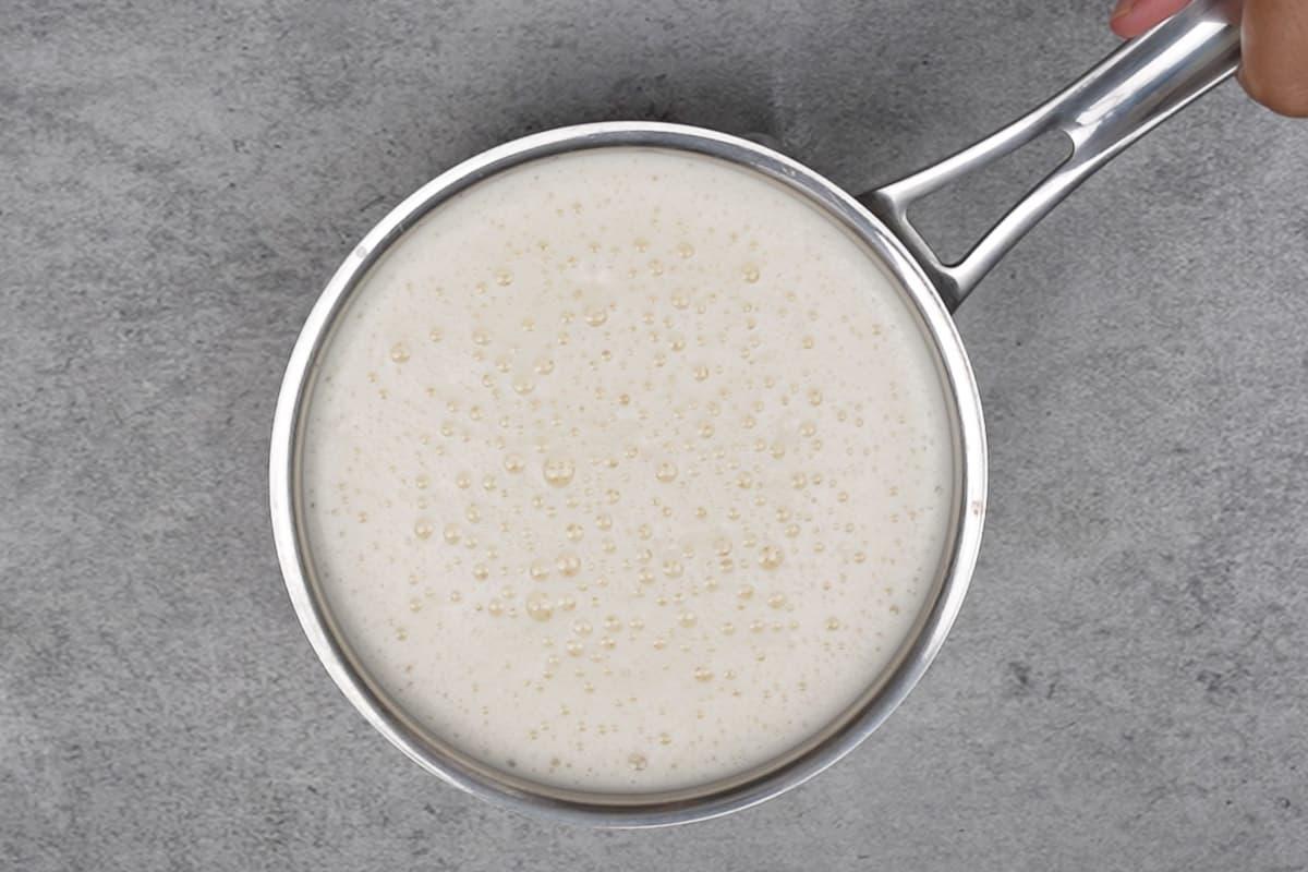 Frothy milk mixture.