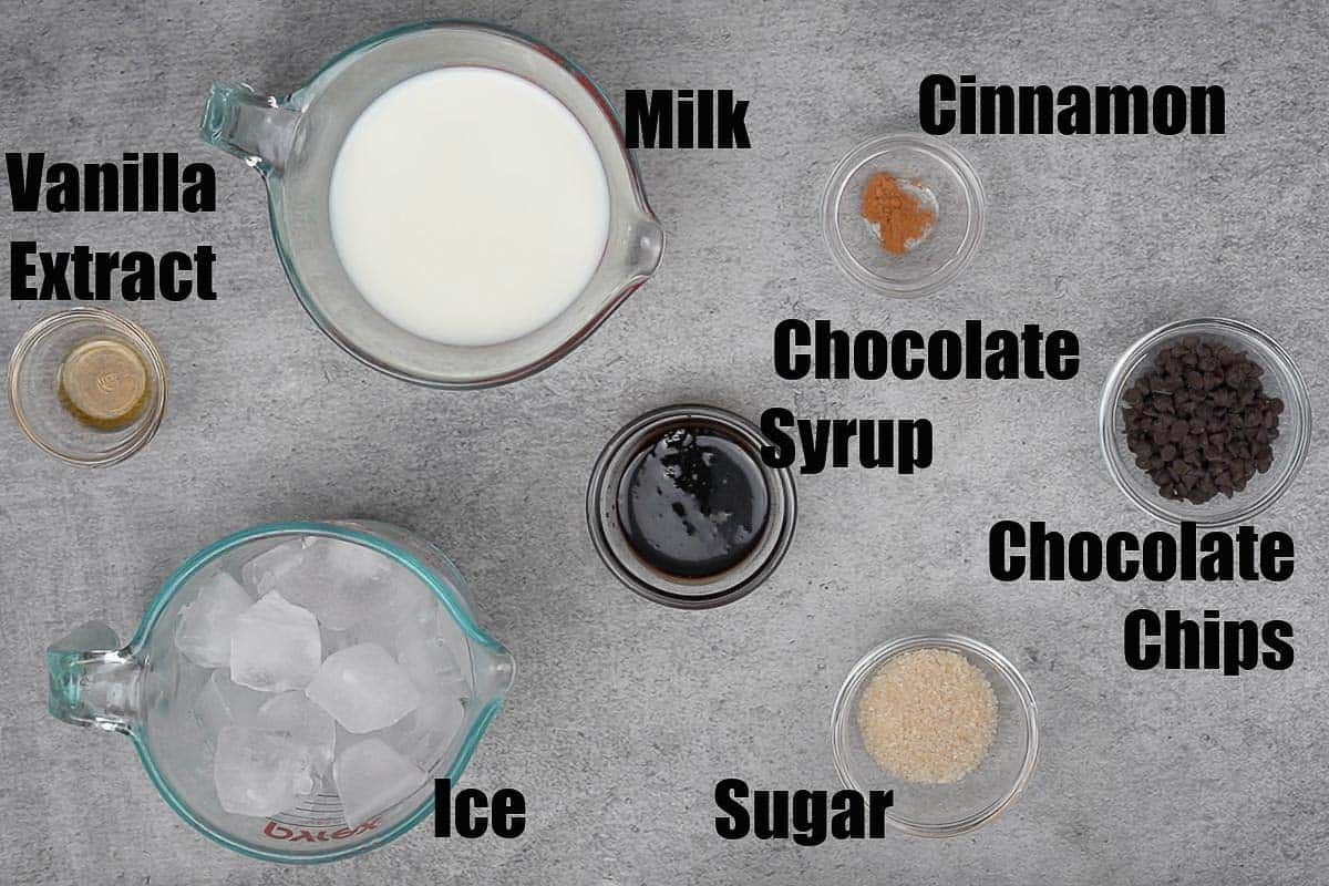 Chocolate chip frappe ingredients.