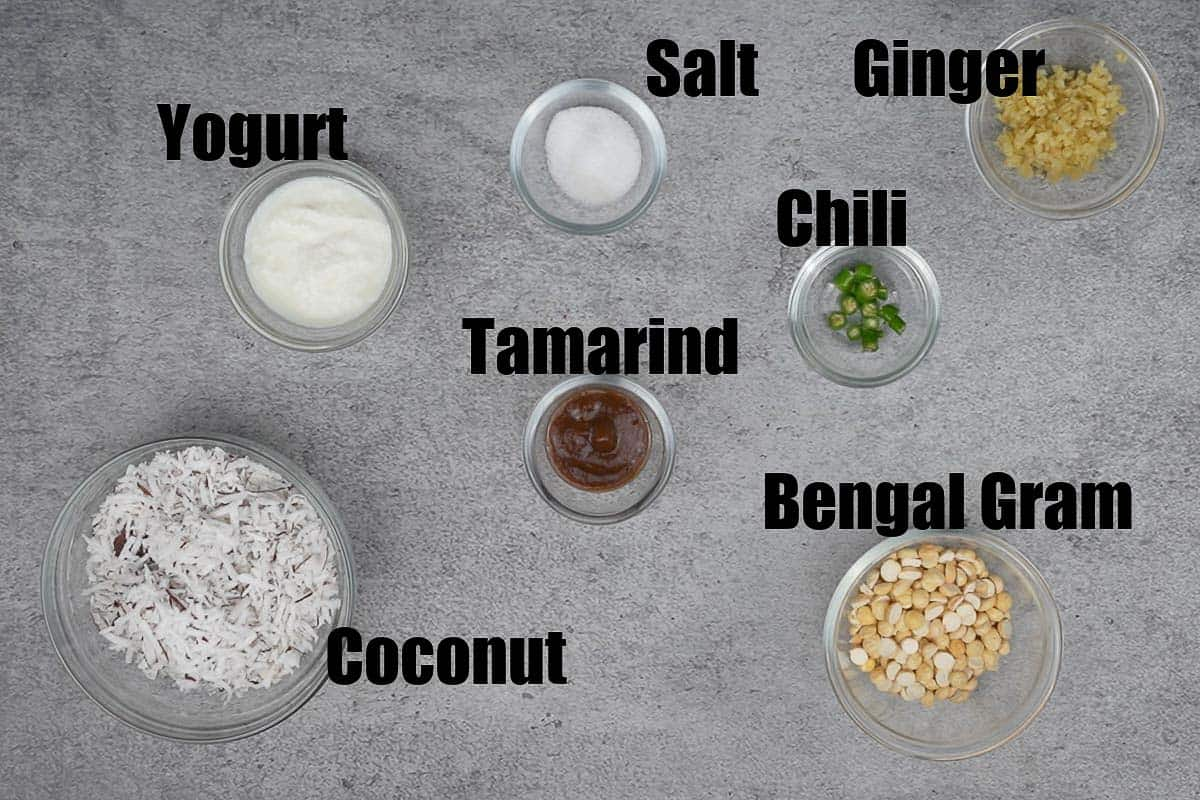 Coconut chutney ingredients.